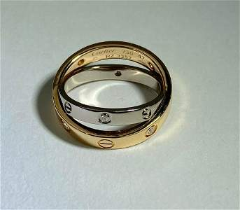 Cartier Love Ring 6 Diamonds 18k White and Rose Gold