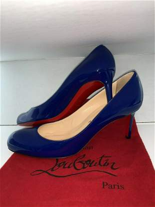 CHRISTIAN LOUBOUTIN Blue Patent Leather Shoe Medium