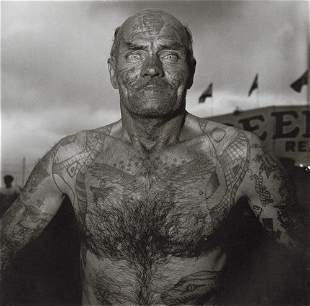 DIANE ARBUS - Tattooed Man at a Carnival, MD, 1970