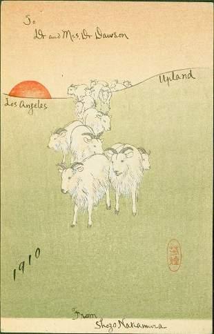 Goats at Sunset Japanese Woodblock Print - Shimbi Shoin