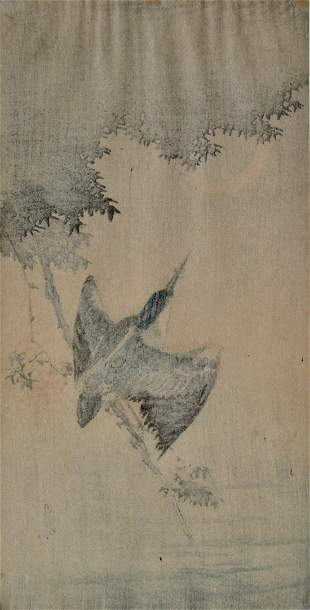 Gesso: Kingfisher and Crescent Moon