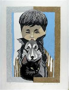 SEKINO Jun'ichiro: Boy with dog and cat (numbered FIRST