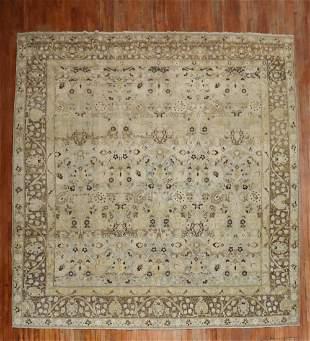 Blue Gray Chartreuse Antique Persian Tabriz Carpet
