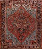 Pre-1900 Antique Vegetable Dye Heriz Serapi Persian Rug