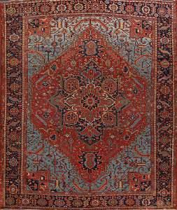Pre-1900 Antique Vegetable Dye Heriz Serapi Persian Rug