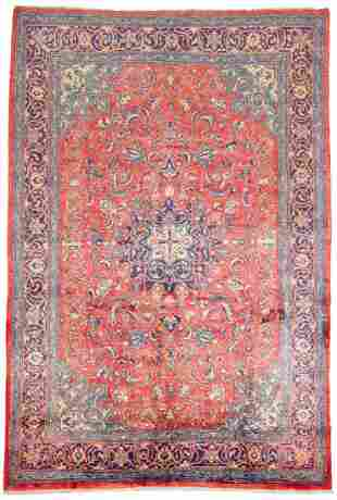 "Hand-knotted Mahal Wool Rug 7'4"" x 10'9"""