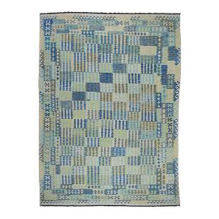 Blue Afghan Kilim Pure Wool Hand Woven Oriental Rug