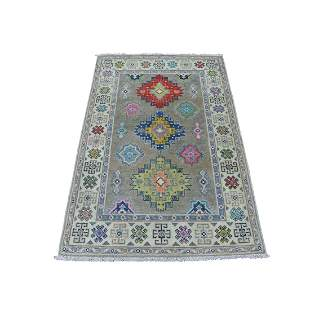 Colorful Gray Fusion Kazak Pure Wool Geometric Design