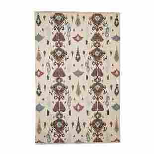 Pure Wool Flat Weave Soumak Ikat Design Hand Woven