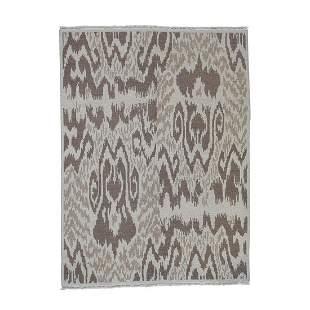 Soumak with Ikat Design Flat Weave Hand Woven Pure Wool