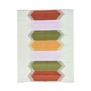 Hand-Woven Dazzling Kilim Pure Wool Flat Weave Oriental