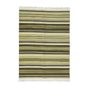 Flat Weave Hand-Woven Reversible Pure Wool Striped
