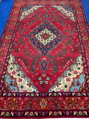 Hand Knotted Persian Tabriz 10.2x6.8 ft