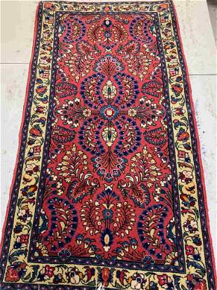 Semi Antique Hand Woven Persian Sarouk 3.11x2 ft