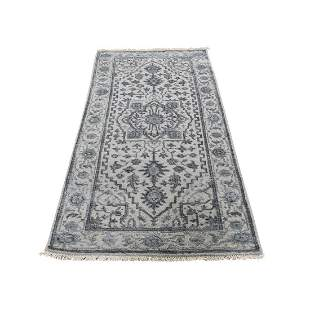 Wool And Silk Heriz Design Grey Hand-Knotted Oriental