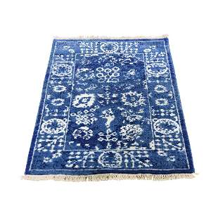 Hand-Knotted Wool and Silk Tone on Tone Tabriz Oriental