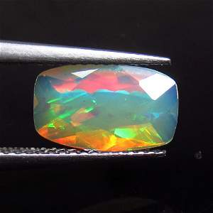1.32 Ctw Natural Ethiopian Multicolor Fire Opal Cushion