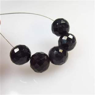 24.75 Ct Natural 5 Black Onyx Round Ball Beads