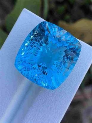 60 Carats Natural Swiss Blue Topaz Laser Cut 22x20x15