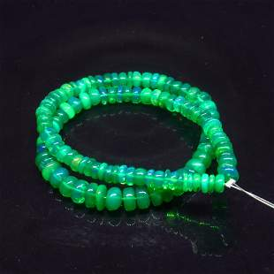 34.42 Ct Natural 111 Drilled Green Fire Opal Beads