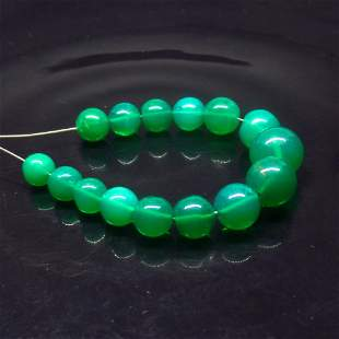 16.79 Ct Natural 15 Drilled Green Fire Opal Beads