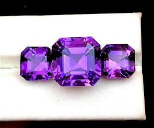 Natural Fancy Cut Purple Amethyst Gemstones Set - 26.80