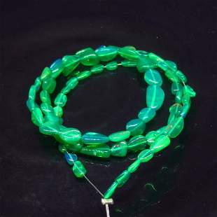 23.20 Ct Natural 69 Drilled Green Fire Opal Beads