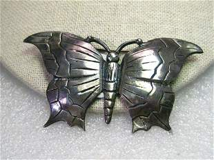 Vintage Sterling Silver Large Butterfly Brooch,