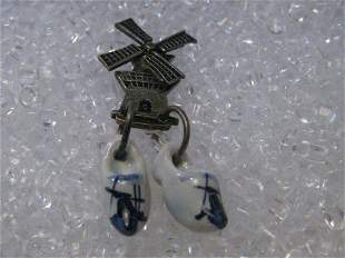 Vintage Sterling Silver Windmill & White & Blue Delft