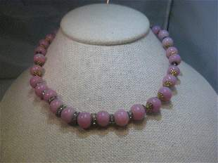 Vintage Pink Peking Glass 9.5mm Beaded Necklace,