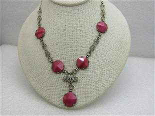 Vintage 1920's Pink Cateye Art Deco Necklace, With