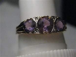 Vintage 14kt Triple Amethyst Ring, Diamond Accents,