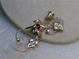 Vintage 1940's Floral Brooch with Stones, signed TF