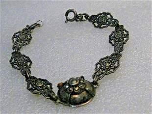 Vintage 1930's Marcasite Filigree Bracelet, Germany,