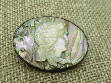 Vintage Sterling Silver Abalone Mother-o-Pearl Cameo