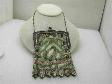 Vintage Whiting & Davis Enameled Mesh Purse, 1900, 6""