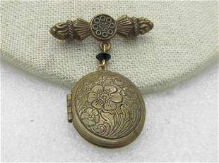 Vintage 1930's Locket Brooch, Floral, 2""