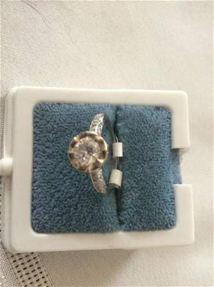 Platinum Antique Diamond Ring With An Unusual Mounting