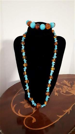 Natural Amber and Turquoise Necklace and Bracelet