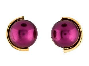 Lanvin Simulated Purple Pearl Cabochon Earrings