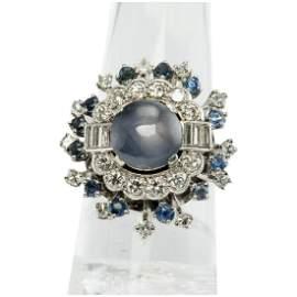 Diamond Star Sapphire Ring Platinum Cocktail Vintage