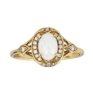 10K Yellow Gold Australian Opal & Diamond Ring
