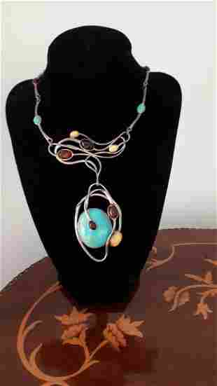 Awesome Turquoise Amber and Silver Necklace ( Danish
