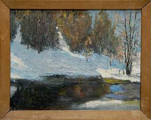 Oil painting Winter landscape Kesler M. L.