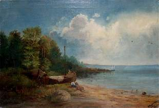 Oil painting People near the shore Lorentsev