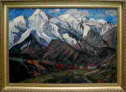 Oil painting Mountains landscape Brendel Olga