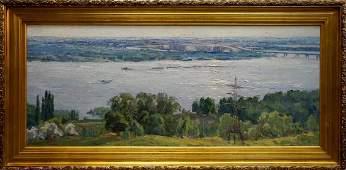 Oil painting River landscape Nepiypivo Vasily