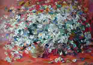 Oil painting Daisies on a red background Alexander