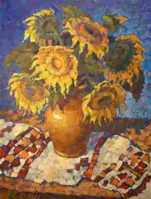 Oil painting Sunflowers on a towel Procach Olesia
