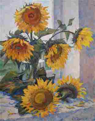 Oil painting Sunflower dialogue Procach Olesia